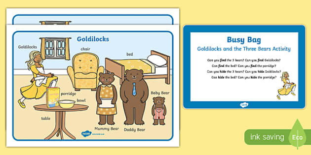 Goldilocks and the Three Bears Activity Busy Bag Prompt Card and Resource Pack