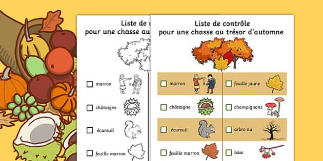 Autumn Hunt Checklist French