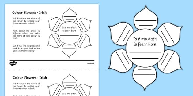MFL Irish Colour Flowers Activity Sheet, worksheet