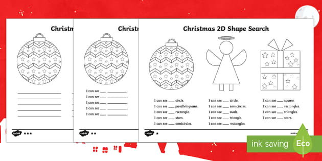 Christmas Themed 2D Shape Search Activity Sheet