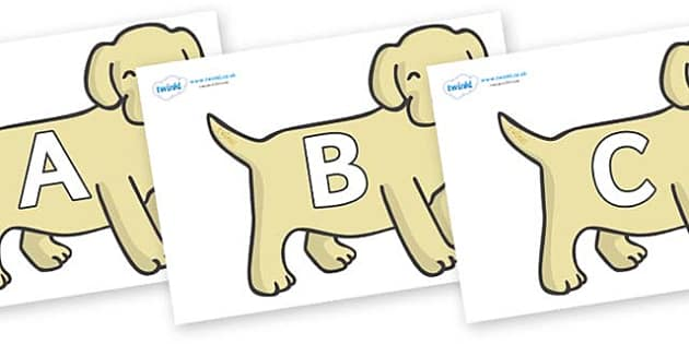 A-Z Alphabet on Puppies - A-Z, A4, display, Alphabet frieze, Display letters, Letter posters, A-Z letters, Alphabet flashcards