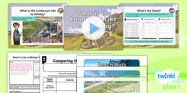 PlanIt Geography Y4 - What's It Like in Whitby - L2 What Is the Landscape Like Near Whitby? Lesson Pack - geography, UK, compare, Whitby, contrasting, location, physical, landscape, coast, seaside, map