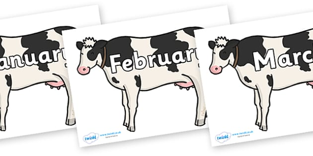 Months of the Year on Cows - Months of the Year, Months poster, Months display, display, poster, frieze, Months, month, January, February, March, April, May, June, July, August, September