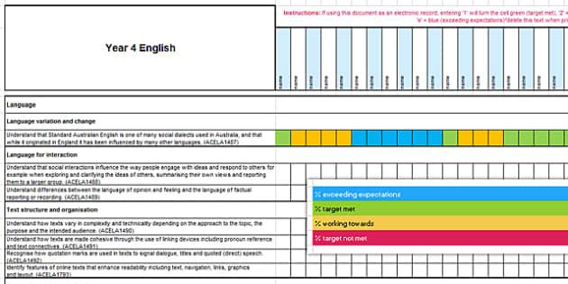 Australian Curriculum Year 4 English Assessment Tracker-Australia
