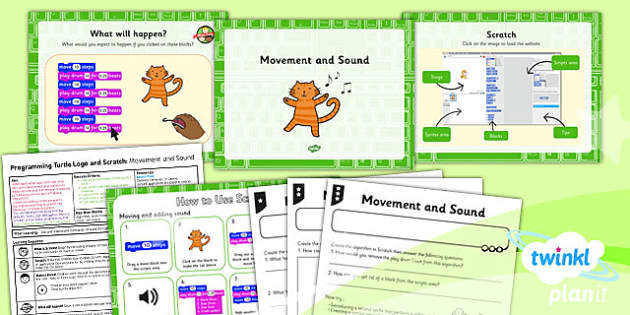 PlanIt - Computing Year 2 - Programming Turtle Logo and Scratch Lesson 3: Movement and Sound Lesson Pack