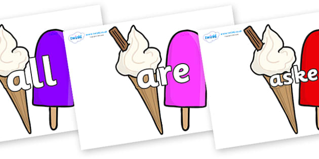 Tricky Words on Ice Cream and Lollies - Tricky words, DfES Letters and Sounds, Letters and sounds, display, words