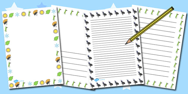 The Ant and the Grasshopper Writing Page Borders - grasshopper
