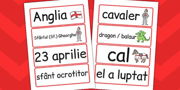 Ziua Sfantului Gheorghe, cartonase de cuvinte, imprimabil, Romanian