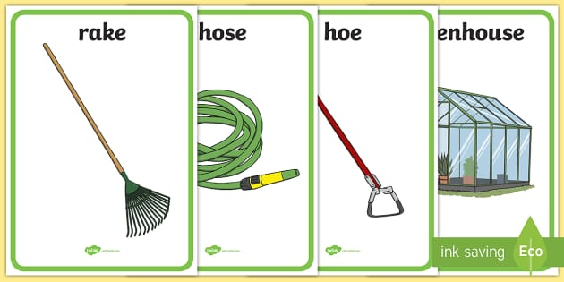 Garden Tools Display Posters - garden tools, display, poster, sign, garden, park, spade, wheelbarrow, flower pots, fork