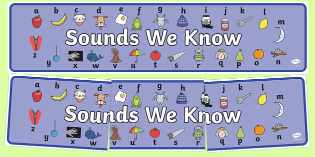 Sounds We Know Display Banner - sounds we know with phase 1, pictures, display, banner, sign, poster, sounds, sound, know, recognition, phase 1, phase one, important, activty