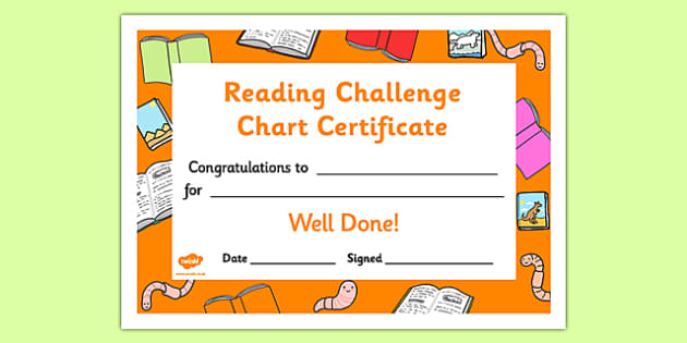 Reading Challenge Chart Certificates Bookworm Themed - Reading Challenge Chart Certificates, Bookworm Themed Certificate, Reading Certificate