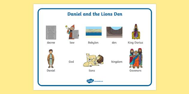 Daniel And The Lions Den Word Mat - Daniel and the Lions, Daniel, Lions, lion pit, word mat, writing aid, mat, Babylon, King Darius, governors, God, pray, den, bible story, bible