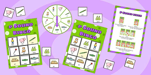 p Sound Bingo Game with Spinner - p sound, sound, sounds, bingo