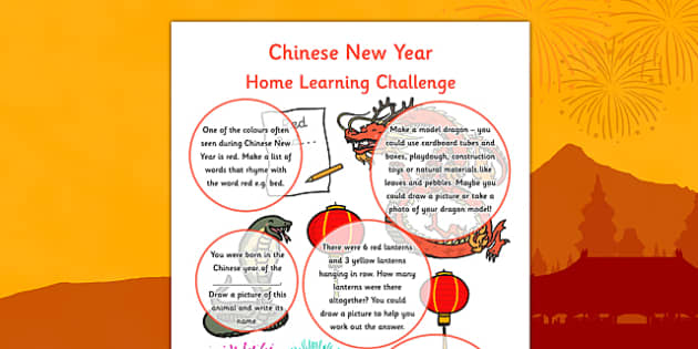 Chinese New Year EYFS Home Learning Reception FS2 - EYFS planning, early years activities, homework, festival, celebration