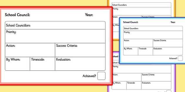 School Council Annual Plan Cards - school council, annual, plan, cards
