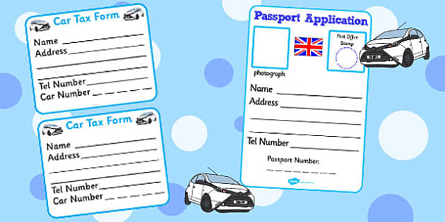 Post Office Forms- Post office, forms, car tax, tax disc, passport, post office, role play, letters, stamps, stamp, mail, post, postman, delivery, passport, car tax, mail bag, envelope