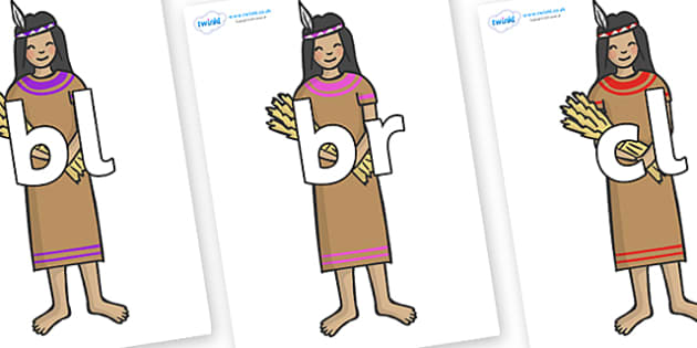 Initial Letter Blends on Native American - Initial Letters, initial letter, letter blend, letter blends, consonant, consonants, digraph, trigraph, literacy, alphabet, letters, foundation stage literacy