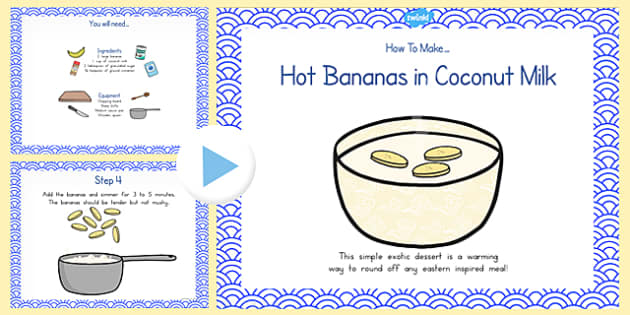 Hot Bananas in Coconut Milk Recipe PowerPoint - australia, recipe