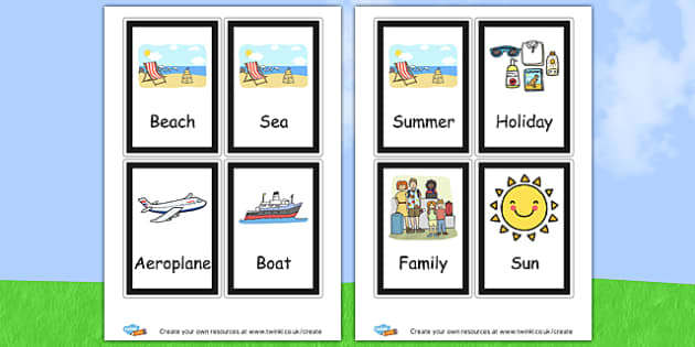 Summer Flashcards - Summer Literacy Primary Resources,Primary,Summer,Literacy,Words