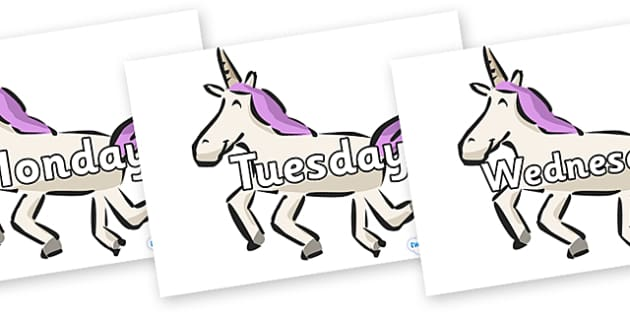 Days of the Week on Unicorns - Days of the Week, Weeks poster, week, display, poster, frieze, Days, Day, Monday, Tuesday, Wednesday, Thursday, Friday, Saturday, Sunday