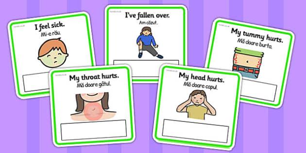 EAL Emergencies Editable Cards with English Romanian Translation - romanian
