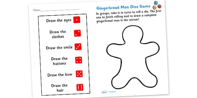 Gingerbread Man Dice Game Activity Sheet - game, activity, fun, activity sheet, gingerbread man, gingerbread man game, gingerbread man dice game, dice game, game sheet, fun activity, fun game, learning, play, worksheet
