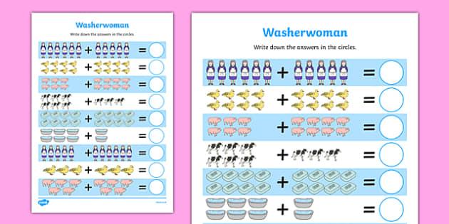 Washerwoman Up to 20 Addition Sheet - mrs wishy washy, washerwoman, addition sheet, 20