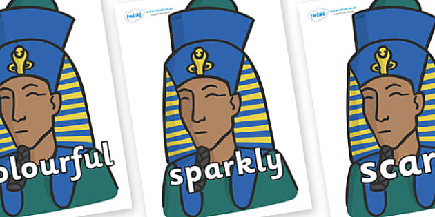 Wow Words on Pharaohs - Wow words, adjectives, VCOP, describing, Wow, display, poster, wow display, tasty, scary, ugly, beautiful, colourful sharp, bouncy