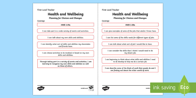 CfE Health and Wellbeing (Planning for Choices and Changes) First Level Child Friendly Tracking