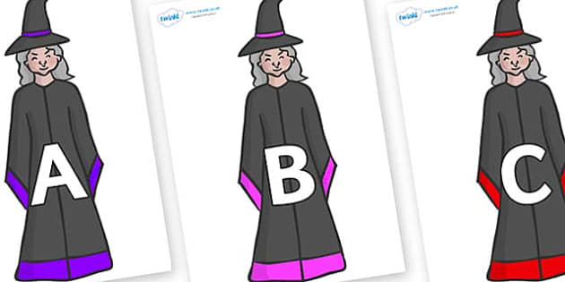 A-Z Alphabet on Witches - A-Z, A4, display, Alphabet frieze, Display letters, Letter posters, A-Z letters, Alphabet flashcards