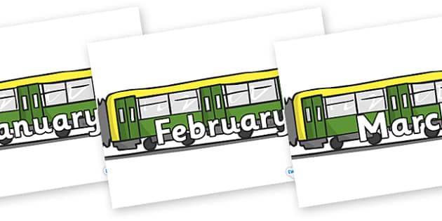 Months of the Year on Trains - Months of the Year, Months poster, Months display, display, poster, frieze, Months, month, January, February, March, April, May, June, July, August, September