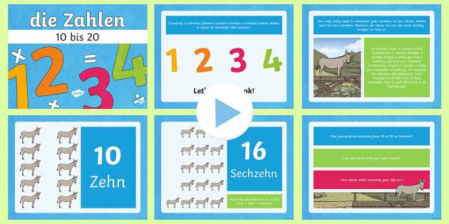 Numbers Ten to Twenty in German PowerPoint - Numbers, Counting, German,German, counting, MFL,