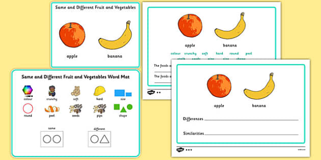 Same and Different Fruit and Vegetables - Concept development, language delay, language disorder, semantic links, describing, vocabulary development, autism