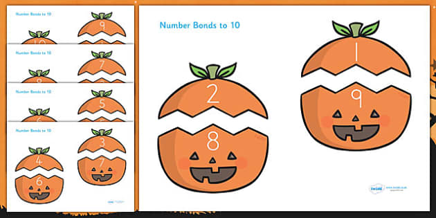 Halloween Number Bonds to 10 on Pumpkins - halloween, halloween number bonds, pumpkin number bonds, halloween counting, halloween numeracy, addition, 0-10