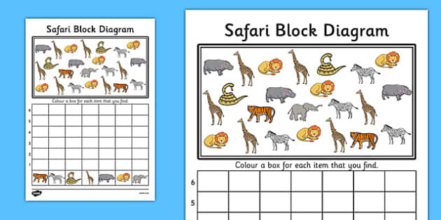 Safari Block Diagram Activity Sheet - safari, block diagram, block, diagram, activity, worksheet