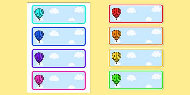 Editable Drawer - Peg - Name Labels (Plain Hot Air Balloons) - Hot Air balloon Label Templates, balloons, Resource Labels, Name Labels, Editable Labels, Drawer Labels, Coat Peg Labels, Peg Label, KS1 Labels, Foundation Labels, Foundation Stage Labels