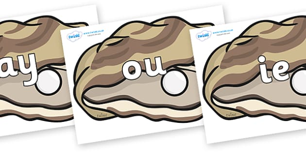 Phase 5 Phonemes on Oysters - Phonemes, phoneme, Phase 5, Phase five, Foundation, Literacy, Letters and Sounds, DfES, display