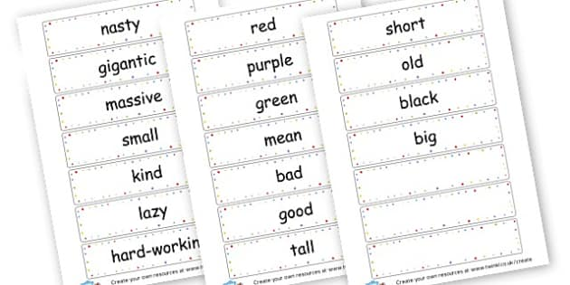 Simple adjectives - Adjectives Primary Resources, cll, wow, keywords, describing words