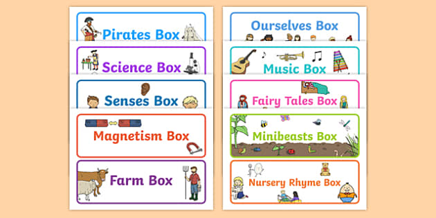 Topic Box Labels - topic box, labels, signs, labelling, topics, different, box, container, classroom, management, minibeasts, nursery rhymes, maths, English, subjects