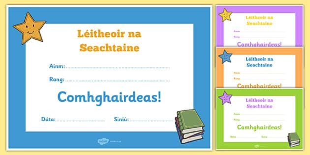 Léitheoir na Seachtaine Certificate Gaeilge