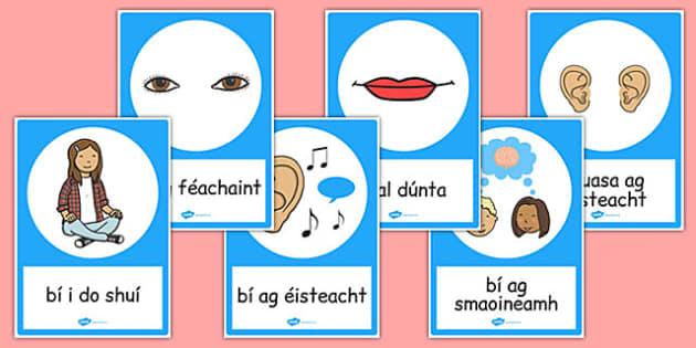 Good Listening Posters Gaeilge - gaeilge, good listening, posters, display, communication