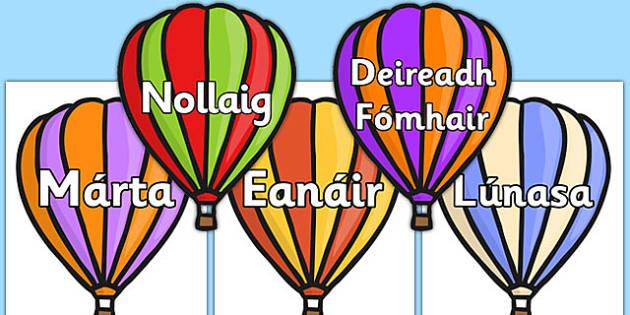 Months of the Year on Hot Air Balloons (stripes) Gaeilge - gaeilge, months, year, hot air balloons