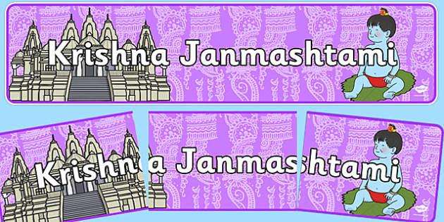 Krishna Janmashtami Display Banner - Banner, display, Diwali, religion, hindu, hanoman, rangoli, sita, ravana, pooja thali, rama, lakshmi, golden deer, diva lamp, sweets, new year, mendhi, fireworks, party, food
