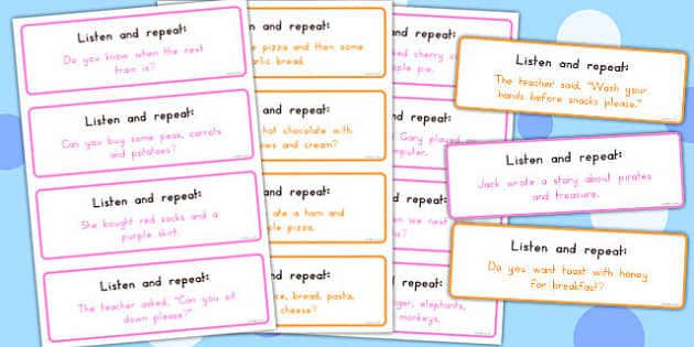 Listen and Repeat 8-9 Word Length Sentence Cards Set 2 - australia