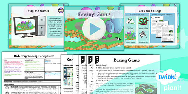 PlanIt Computing Year 6 Kodu Programming Lesson 6 Racing Game Lesson Pack - ks2, uks2, key stage, junior, computers, it, itc, ict, programme, program, software, skills, resources, display, presentation, planning, notes, idea, information, racing, car
