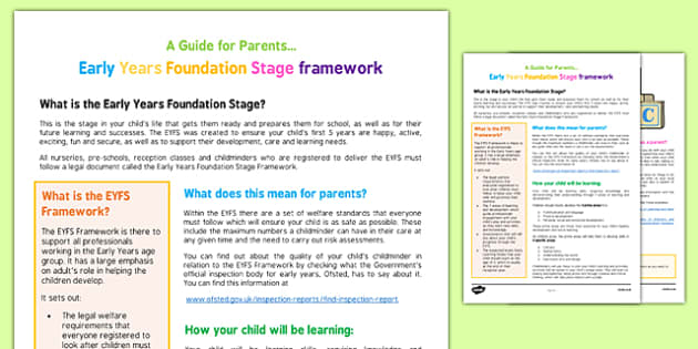 A Parent's Guide to the Early Years Foundation Stage Framework - EYFS curriculum, under 5s