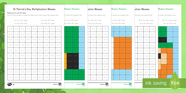 St. Patrick's Day Multiplication Mosaic Activity Sheets - St.