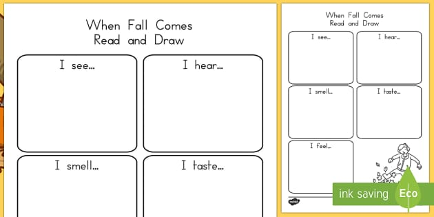 Five Senses Fall Read and Draw Activity Sheet