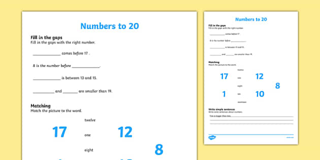 Numbers to 20 Activity Sheet, worksheet