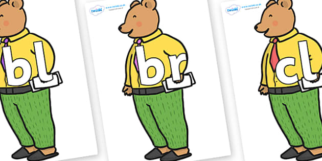 Initial Letter Blends on Mr Bear to Support Teaching on The Jolly Christmas Postman - Initial Letters, initial letter, letter blend, letter blends, consonant, consonants, digraph, trigraph, literacy, alphabet, letters, foundation stage literacy